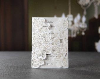 White Extravagant Floral Laser Cut Gate Wedding Invitation, Silk-Screen - BH1680