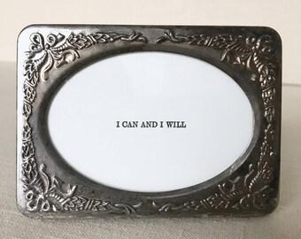 Silver Framed Mantra, Affirmations, Notes of Encouragement, Letterpress Print, Mini Letterpress Print, Affirmation Intention Cards