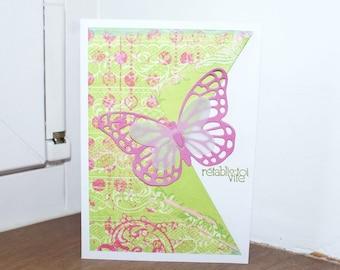 """Card is hand """"get well soon"""", butterfly"""