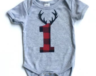 Lumberjack Birthday,Buffalo Plaid, Antlers ,1, First Birthday,Lumberjack Party ,Other Numbers Available, Fabric Iron On Appliques
