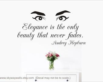 Audrey Hepburn Elegance Quote   Vinyl Wall Decal   Home Decor