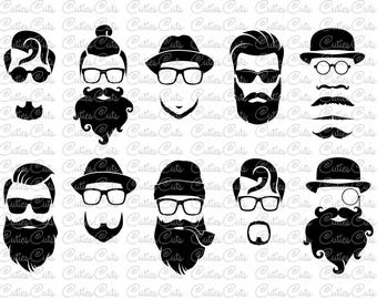 Hipster Beards SVG Dxf Png Eps Files Vector Mustache and beard Gentleman clipart print cutting files for silhouette