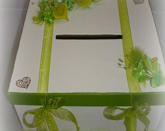 urn wedding or anniversary white and lime green