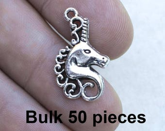 Unicorn Charms,  #BCH385, Fantasy Charms, Antique Silver Charms, Silver Unicorn Charms, Jewelry Supplies, Alloy Metal Charms, Findings