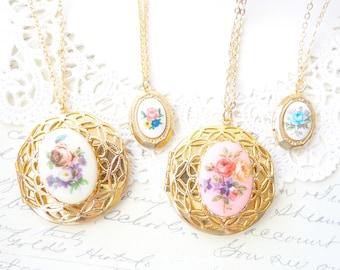 Vintage Gold Plated Locket - Vintage Limoges Locket Necklace - Flower Limoges Locket - Rare Limoges Locket Necklace - Blue Rose Necklace