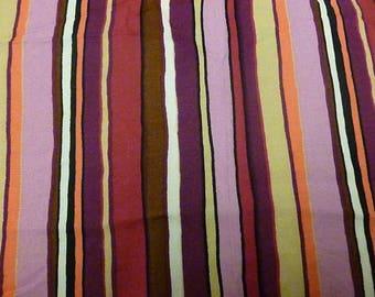 Shades of fuschia purple stripe viscose fabric