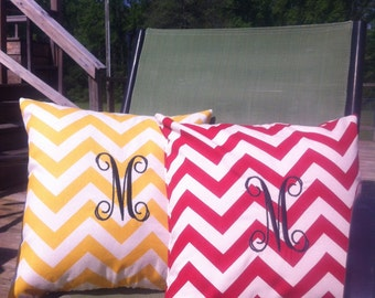 Monogrammed Chevron print pillows - Accent pillow - indoor pillow - outdoor pillow - personalized pillow