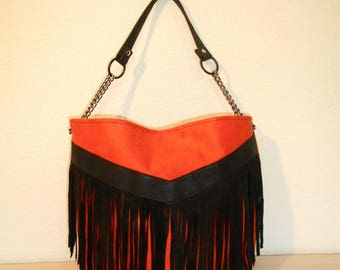 Black Suede fringe and orange suede tote bag