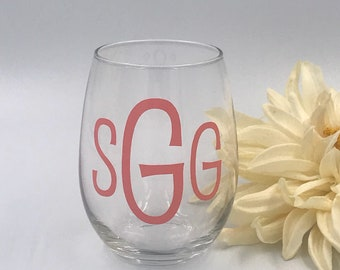 Personalized Wine Glass| Stemless Wine Glass| Bridesmaid Gift| Monogram Wine Glass| Hostess Gift| Custom Wine Glass