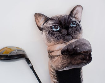 CAT Golf club  head cover ,Custom  pet  portrait , golf accessories ,golfer gift