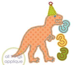 T-Rex Eating 3s Birthday Applique Design (#1116) - 4 Sizes - BIRTHDAY Applique Machine Embroidery Design - INSTANT DOWNLOAD
