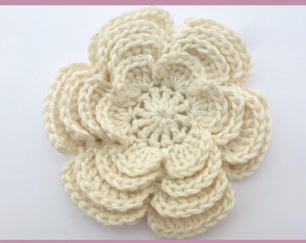 Crochet appliques, 1 extra large crochet flower four-flower, cardmaking, scrapbooking, appliques, handmade, sew on patches embellishments