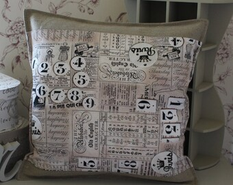 Linen and old pattern Cushion cover 40 x 40
