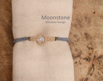 Rainbow Moonstone Bracelet,Makramee Mondstein,Moonstone Jewelry,Anklet,Natural Moonsotne,Raw Moonstone,Birthstone,Macrame Jewelry,For Her