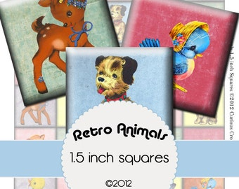 Cute, Retro Animals 1.5 Inch 38mm Squares Digital Collage Sheet INSTANT Printable Download - Jewelry, Scrapbook, Pendants