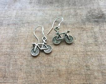 Silver Bicycle Earrings - Sterling Silver Earwires