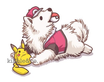 Pokemon Plush, Art Print, Pikachu, Wall Prints, Pikachu Plush, Pokemon Art, Dogs, Dog Illustration, Samoyed Print, Cute Dogs