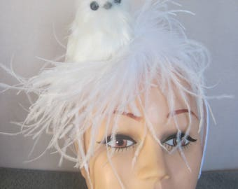 Fuzzy n Feathery White Owl Nesting in White Ostrich Feathers