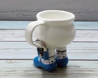 Blu Espresso Cup - borsa Demitasse Cup - ceramica italiana - Whimsical tazza di caffè - tazza di caffè italiano - miniatura Espresso Can - Santino