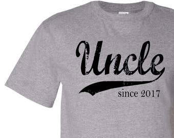 Uncle since ANY year screen print mens t shirt, personalized uncle gift, new uncle tee, custom mens tshirt, brother gift