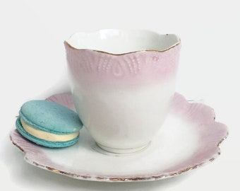 Large Pink Teacup and saucer Antique Victorian period, pink, white and gold trim, wedding china,mix and match tea party.