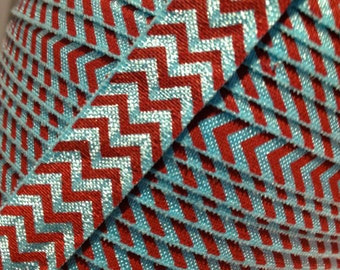 """5/8"""" Seuss Blue and Red CHEVRON FOE Fold Over Elastic sold by the yard"""