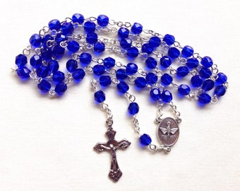 Blue Catholic rosary with faceted glass beads, Traditional Catholic rosary, Five decade rosary, Holy Spirit Rosary, Holy Family Rosary