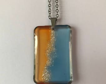 Fluid Art Necklace, OOAK Hand Painted Jewelry, Unique and Thought Provoking, Express Yourself! Orange Blue
