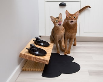 Elevated Raised Cat Food Stand with Two Ceramic Bowls (Wood)