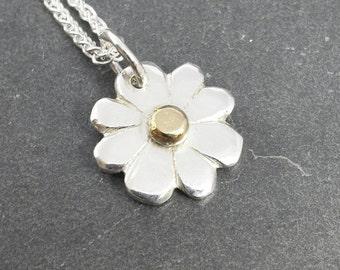 Dainty Daisy - sterling silver & 9ct 9k gold daisy pendant. UK handmade