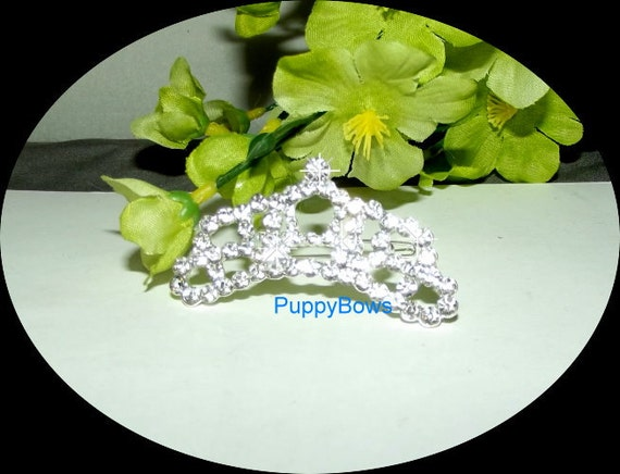Puppy Bows ~ Rhinestone TIARA multi styles dog hair barrette clip CRYSTAL styles 16-20 ~USA seller