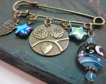 Owls and moon - kilt pin brooch - shawl pin