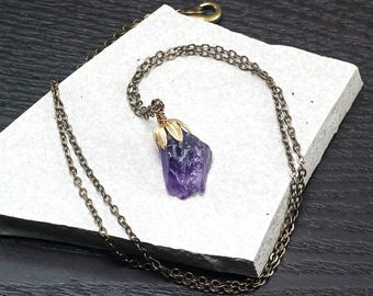 Raw Amethyst crystal necklace, Antique brass necklace, Rough Amethyst nugget pendant, February Birthstone, Gift for Her