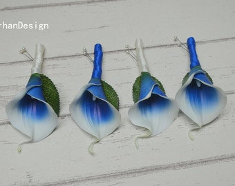 Boutonniers Real Touch Royal Blue Picasso Calla Lily Boutonniere Silk Bridal Wedding Bouquet Packages