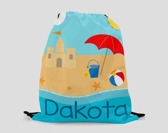 Personalized Beach Bag for Kids - Drawstring Backpack - Swim Bag - Sports Bag - Beach Bag - Pool Bag - Custom Bag with Child's Name