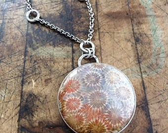 Fossilized Coral Sterling Silver Necklace