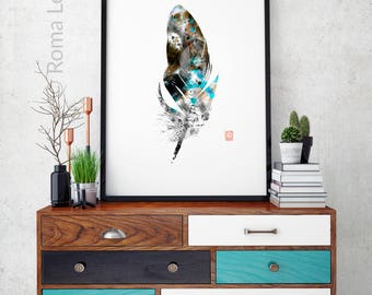 Feather Modern Abstract painting Art print poster Mixed media Bird feather drawing illustration Feather Black White Feather Printable art