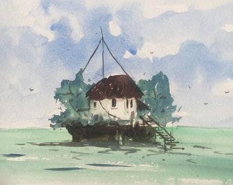 Original Island Miniature Watercolour Painting  | Original Landscape Art | Seascape Painting | Sea painting / Landscape painting