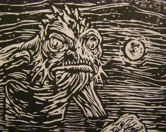 Dagon Approaches by Night - an original print