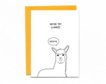 Maybe try llamaze - baby shower card - pregnancy - blessingway - expecting - lamaze - llama