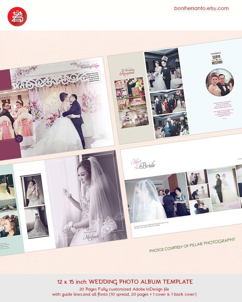 20 plantilla de diseño de páginas boda foto álbum 12 x 15