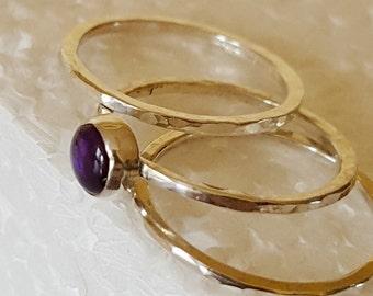 Amethyst ring, amethyst stacking ring, stacking ring set, sterling silver stack ring, silver stack ring, plus size, stack birthstone ring