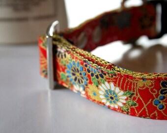 Chiyogami kimono design Dog Collar - Red