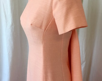 1960's MAXI dress /Neusteters /Size S / Mod 1960's Formal Dress, Peach Pink Faux Slubbed Silk/ Back Drape, Column Dress