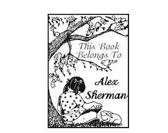 Personalized Girl Reading Ex Libris Library Rubberstamp A31