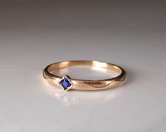 Square Blue Sapphire Gold ring