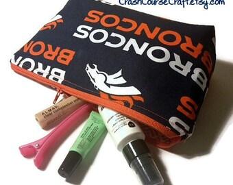 Denver Broncos Zipper pouch make up cosmetic bag Small zipper bag