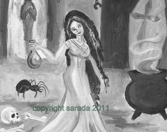 Silent Laboratory spooky gothic alchemy Halloween dungeon art matte 5 x7 reproduction