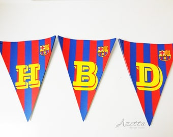 FC Barcelona Party Supplies   Water bottle labels   Banner and Cupcake Topper- Complete decor kit