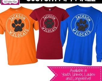 CUSTOM APPAREL: Custom Glitter Circle Mascot School Sprit Shirt, Teacher T-Shirt